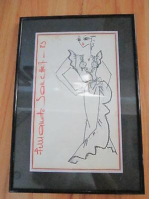"""1983 ORIGINAL SANCHEZ FASHION INK DRAWING - SIGNED - 18"""" X 12"""" FRAMED & MATTED"""