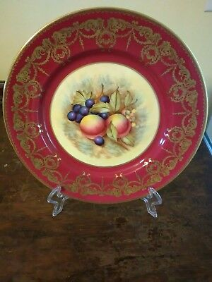 Aynsley Plate England Decorative Floral Fruit Gold Trim Red Yellow Purple # - Fruit Red Trim