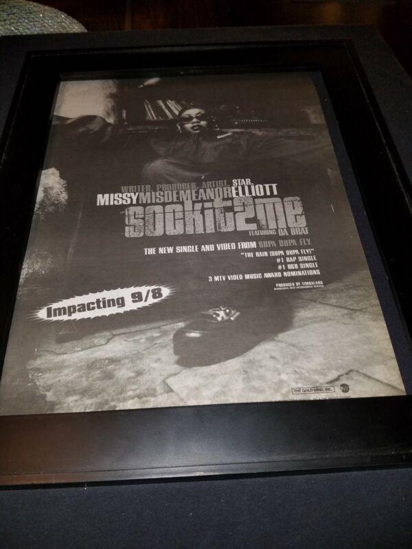Missy Elliott Sockit2me Rare Original Radio Promo Poster Ad Framed!