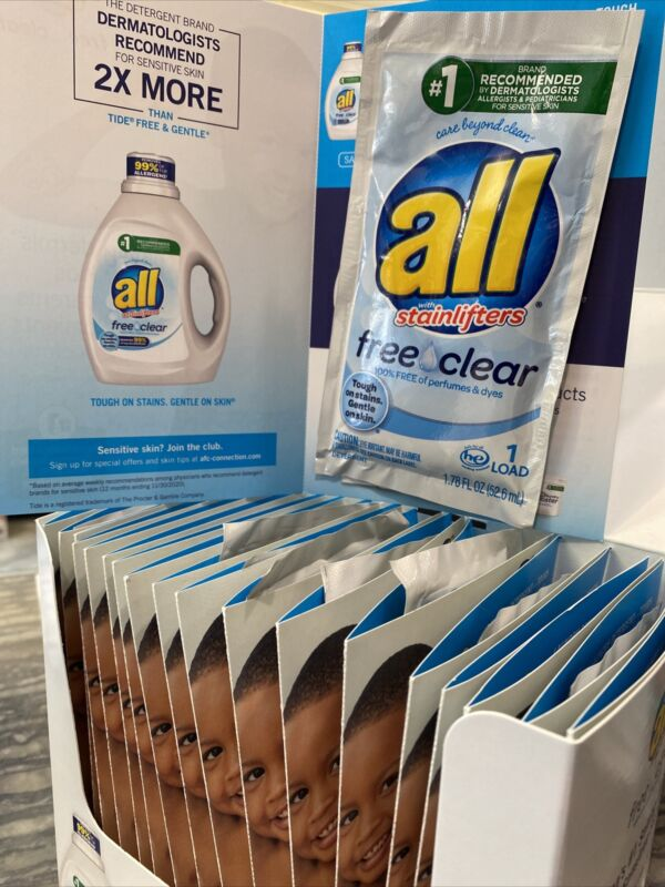 All Laundry Detergent Free And Clear Lot of 19 Single Loads Sample