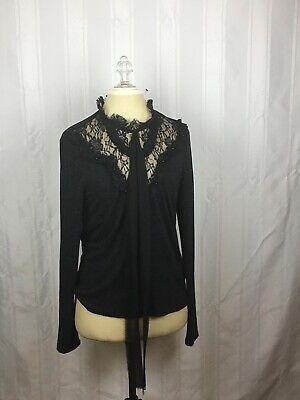 Zara Womens Size Large Blouse Long Sleeve Lace neck Shirt