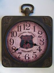 VINTAGE WALL CLOCK ANTIQUE RUSTIC FINISH LIGHT WEIGHT METAL CLOCK ROUTE 66 CLOCK