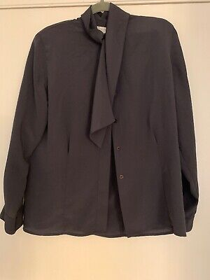 Jones New York Blouse Blue Long Sleeves Padded Shoulders Size 10 for sale  Shipping to India