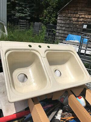 "RV Kitchen Sink 33""x19"" Double Basin 3 Hole Ivory Kitchen Sink, New, Plastic #2"