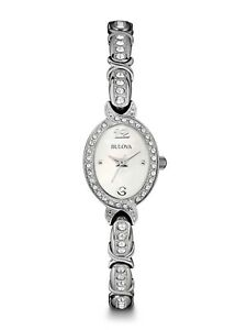 Bulova Women's 96L199 Crystal Accents Mother of Pearl Dial 22mm Watch