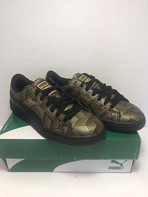 f7493cc614b Puma Womens Size 7.5 Basket Classic Gold Black Metal Sneakers Shoes