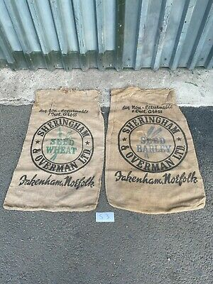 2 x Vintage Farm Hessian Sack Retro Collectable Bag Norfolk Barley Wheat Bags