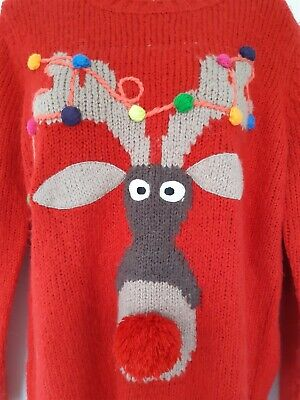 Next Ladies Christmas Jumper Sz 14 Wool Cont. Chunky Rudolph Bobbly