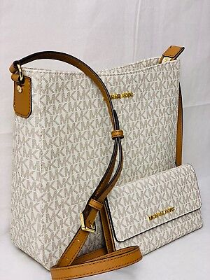 MICHAEL KORS MK LOGO PVC JET SET TRAVEL MESSENGER VANILLA BAG OR TRIFOLD WALLET