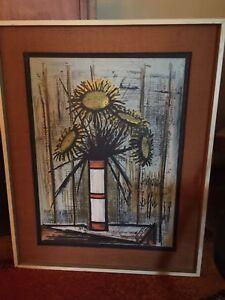 SOLD PENDING original Bernard Buffet sunflowers  lithograph