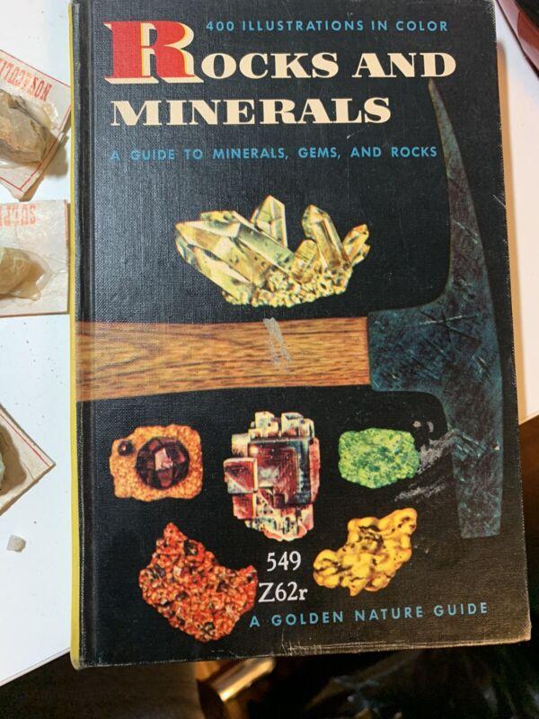 Vtg 1957 Golden Press ROCKS & MINERALS BOOK GUIDE MANUAL & Vtg Rock Collection