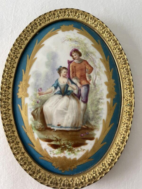 Antique Sevres Porcelain Miniature Portrait  Painting Couple Bronze Frame Plaque