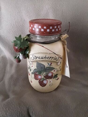 Glass  Mason Jar with Handpainted Strawberries Cute Country Decor 7""