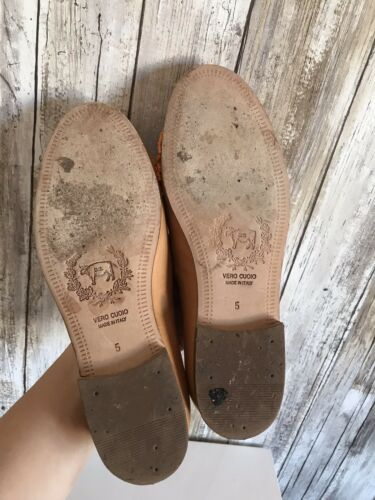 Del Toro Tan Beige Leather Navajo Beaded Flat Slip On Loafers 5 Italy RARE!