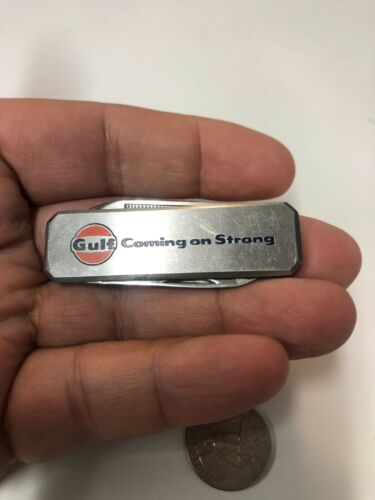 OLD VINTAGE GULF OIL Company coming on strong pocket knife dress style