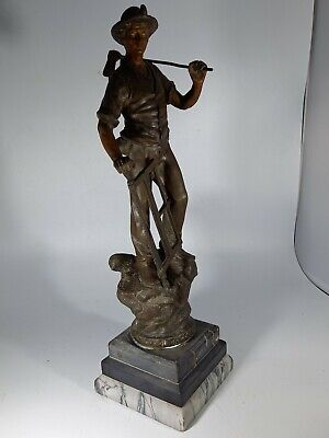 SPELTER WOOD CUTTER / LUMBER JACK FIGURINE 16 inch tall & MARBLE BASE