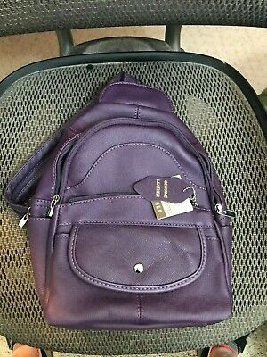 NEW! Roma Leathers BACKPACK or SLING - Genuine EMBOSSED Cowhide Leather - PURPLE