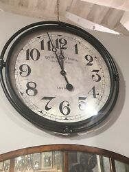 NAKUL XXL 30 FARMHOUSE INDUSTRIAL HARDWARE IRON LONDON WALL CLOCK AGED FACE