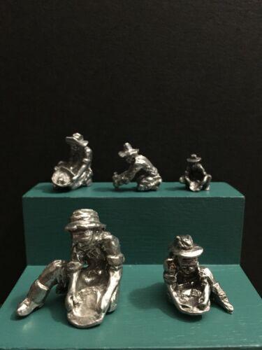 Pewter Western Cowboy Gold Rush Miner Prospector Panning Miniature Figurine Lot