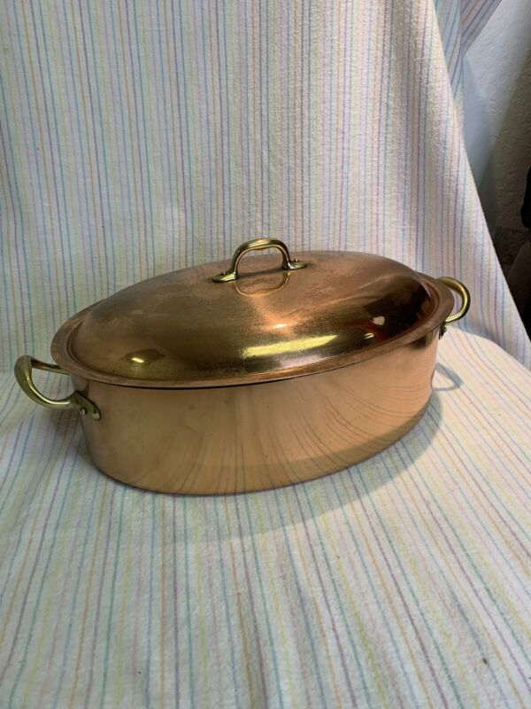 Large Copper Oval Pot Made in Italy