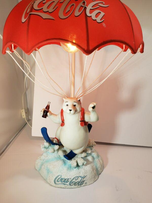 "Beautiful Coca Cola Polar Bear Parachute Lamp  - Excellent Condition!   17"" High"