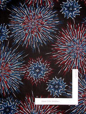 Patriotic Silver Pearl Firework Black Cotton Fabric Star Spangled by Kanvas Yard