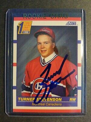 Turner Stevenson Montreal Canadiens 1990 Score Rookie autographed Hockey Card  1990 Score Autographed Hockey Card