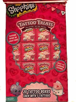 Shopkins Tattoo Treats Valentine Tattoo Packs Party Favors, Goodie Bags, 20 Ct - Valentine Goodie Bags