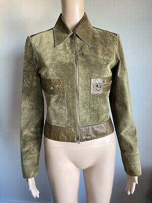 Bebe Genuine Suede Leather Moto Jacket, Olive Green, Small Zip Pockets Cropped