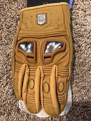 ICON 1000 Retrograde Leather Motorcycle Gloves - Tan - XL Tan Motorcycle Gloves