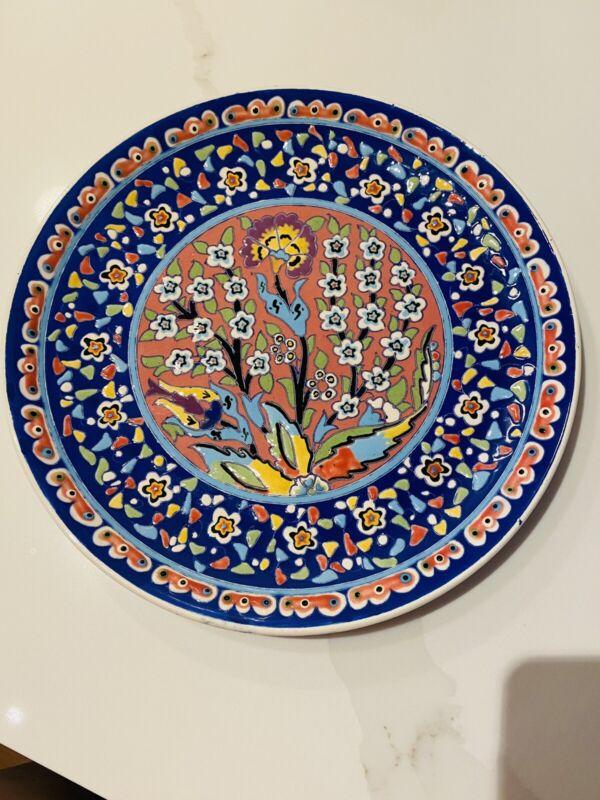 "Kutahya Turkey Turkish Hand Painted Decorative Wall Art Plate 12.5"""