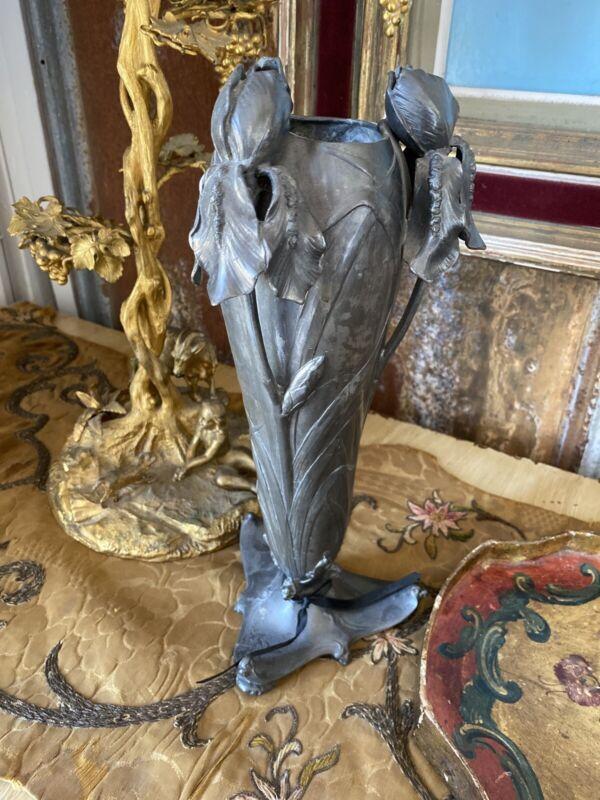 IMPERIAL ZINN B & G ART NOUVEAU IRIS VASE CIRCA 1900 EXCEPTIONAL