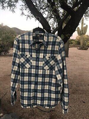 RRL Ralph Lauren Vintage Inspired Farrell Plaid Cotton Work Shirt Blue L