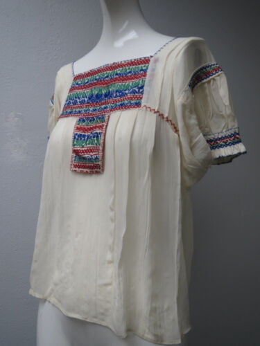 Vtg 1940 Hungarian Hand Embroidered Short Sleeved Blouse Ivory, Red, green, Blue
