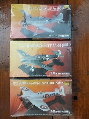 3 Heller Humbro Model Kits 1/72 Scale Spitfire Focke Wulf Messerschmitt BF109E
