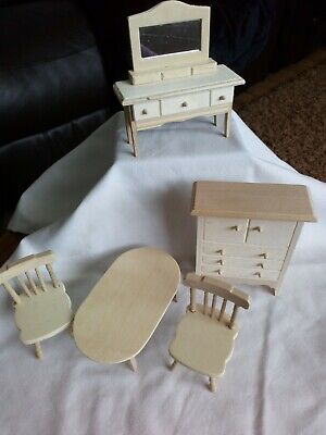 Vintage Wooden Dolls Furniture, Ready For You To Paint Or Bling! 5 Pieces.
