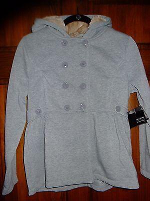 NWT ~ HOLIDAY EDITIONS gray peplum jacket faux fur hood w/ bow  girls XL 14 16 ()
