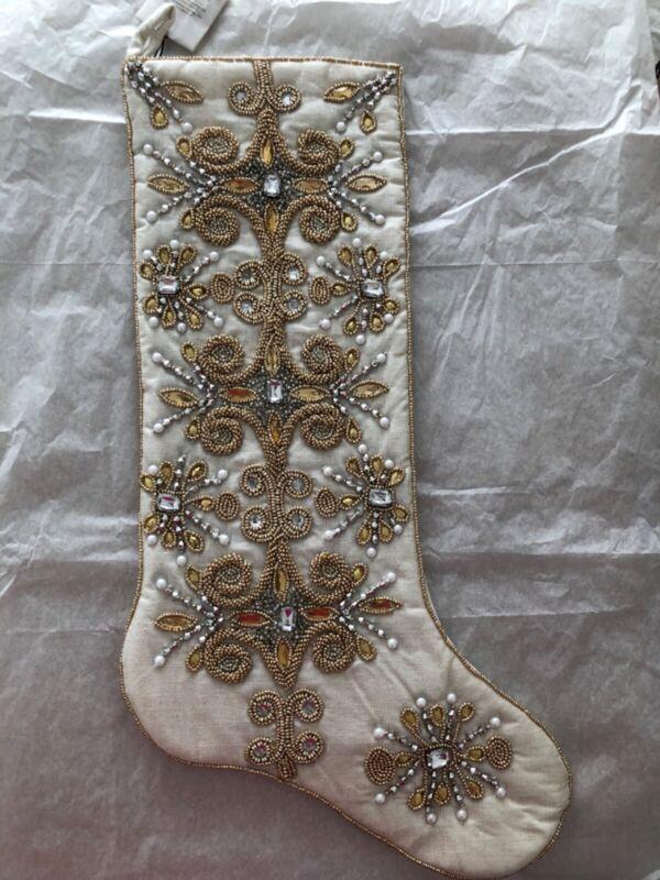 Kim Seybert Jeweled Tiara Beaded Christmas Stocking
