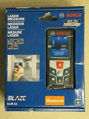 New Bosch Glm42 Indooroutdoor Laser Distance Measure Tool W Color Display