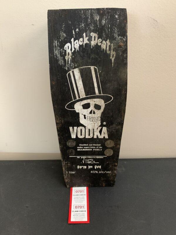 Black Death Vodka Wood Coffin Case Collectible Slash Guns N Roses Rare