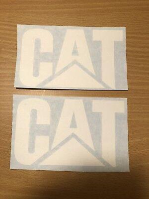 Set Of (2) 6 Inch CATERPILLAR Quality Vinyl Stickers White Car Truck Diesel