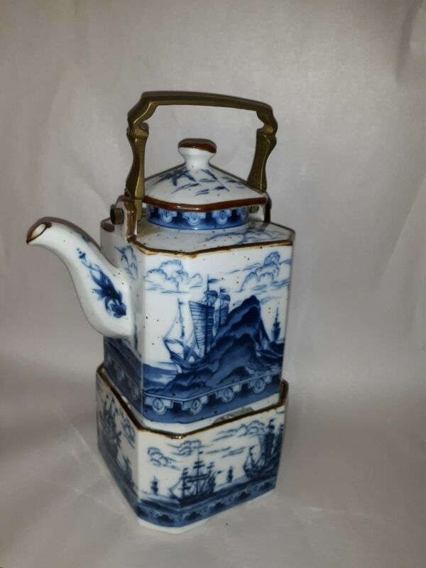 Antique Chinese Export Style Nautical Blue White Porcelain Teapot