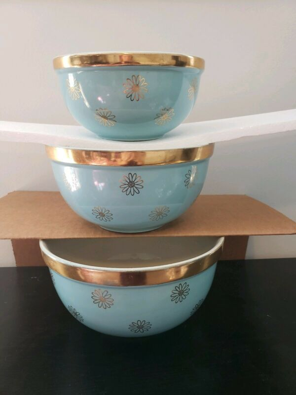 Vintage Eva Zeisel Hall Mixing Bowl Set- Turquoise & Gold-  RARE Find!