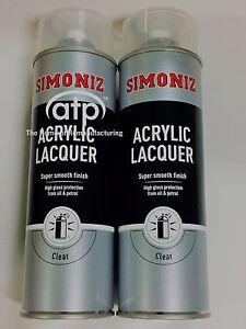 Simoniz SIMP22D Large Clear Lacquer Acrylic Gloss Aerosol Spray Paint x 2 500ml