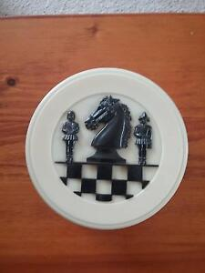 Plastic chess /checker pieces in retro container Farrer Woden Valley Preview