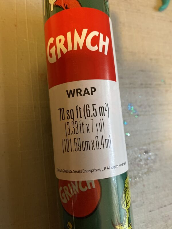 2 Roll Dr Seuss How The Grinch Stole Christmas Gift Wrapping Paper 70 SQ FT NEW