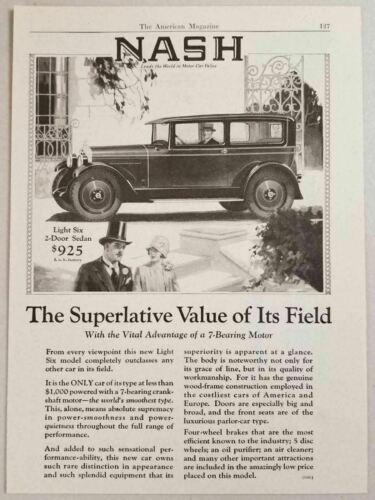 1925 Print Ad Nash Light Six 2-Door Sedan with 7 Bearing Motor