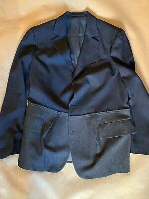 WOOSTER + LARDINI Size US 44 / IT 54 Navy & Grey Color Block Wool Sport Coat