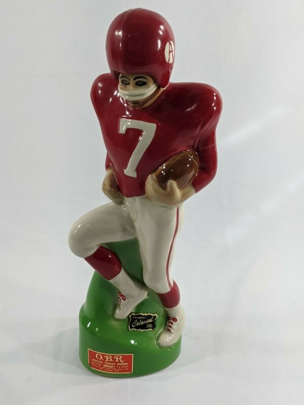 "14"" OBR Rare FOOTBALL PLAYER #7 DECANTER BOTTLE  PAUL LUX Man Cave Alabama?"