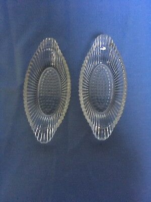 Set of 2 Vintage Cut Glass Oval Candy or Relish Dishes